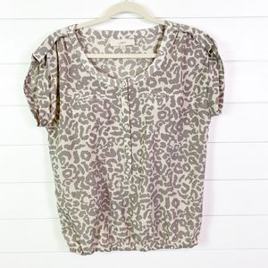 LOFT animal print blouse medium Guc